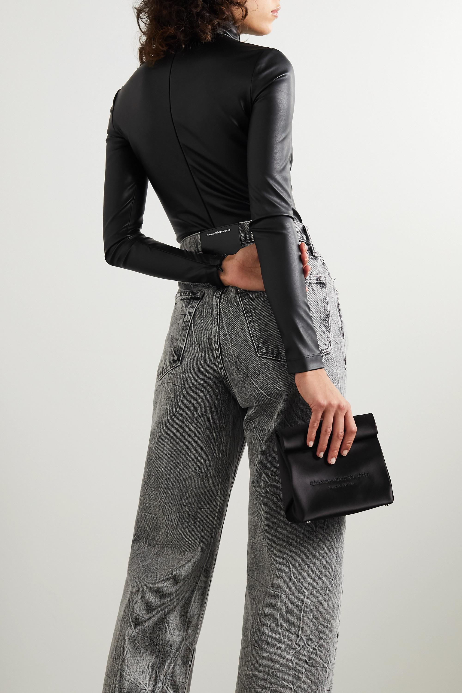 Alexander Wang Faux stretch-leather turtleneck bodysuit