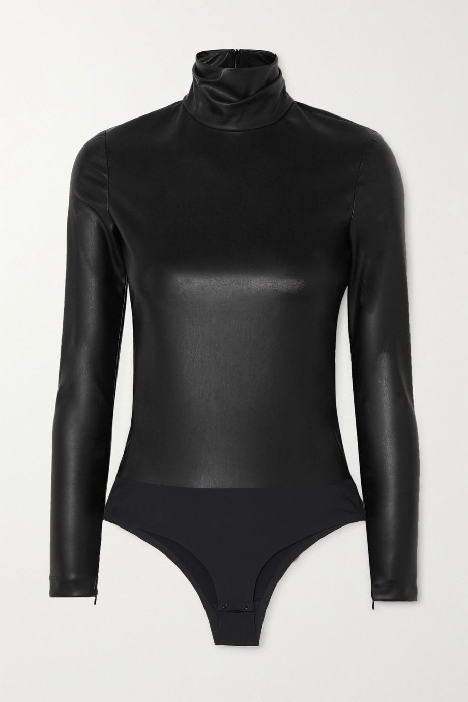 Alexander Wang Faux stretch-leather turtleneck bodysuit