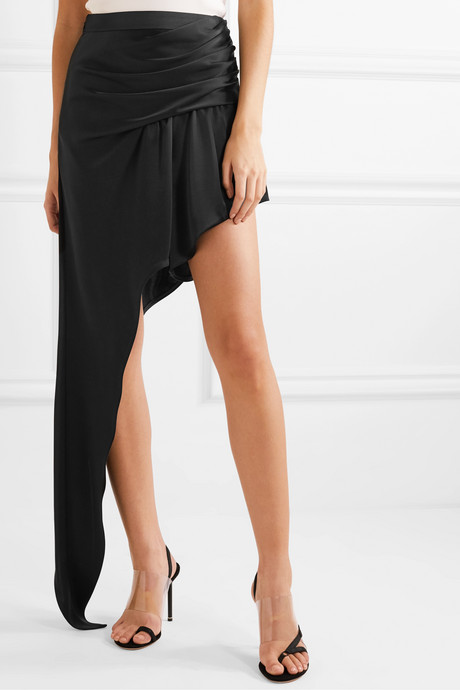 Asymmetric draped satin mini skirt