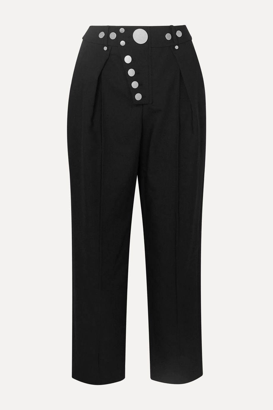 Alexander Wang Embellished pleated twill straight-leg pants