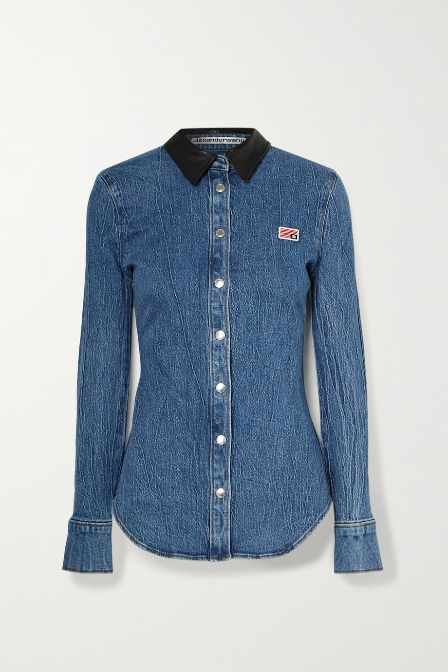 Alexander Wang Textured leather-trimmed denim shirt