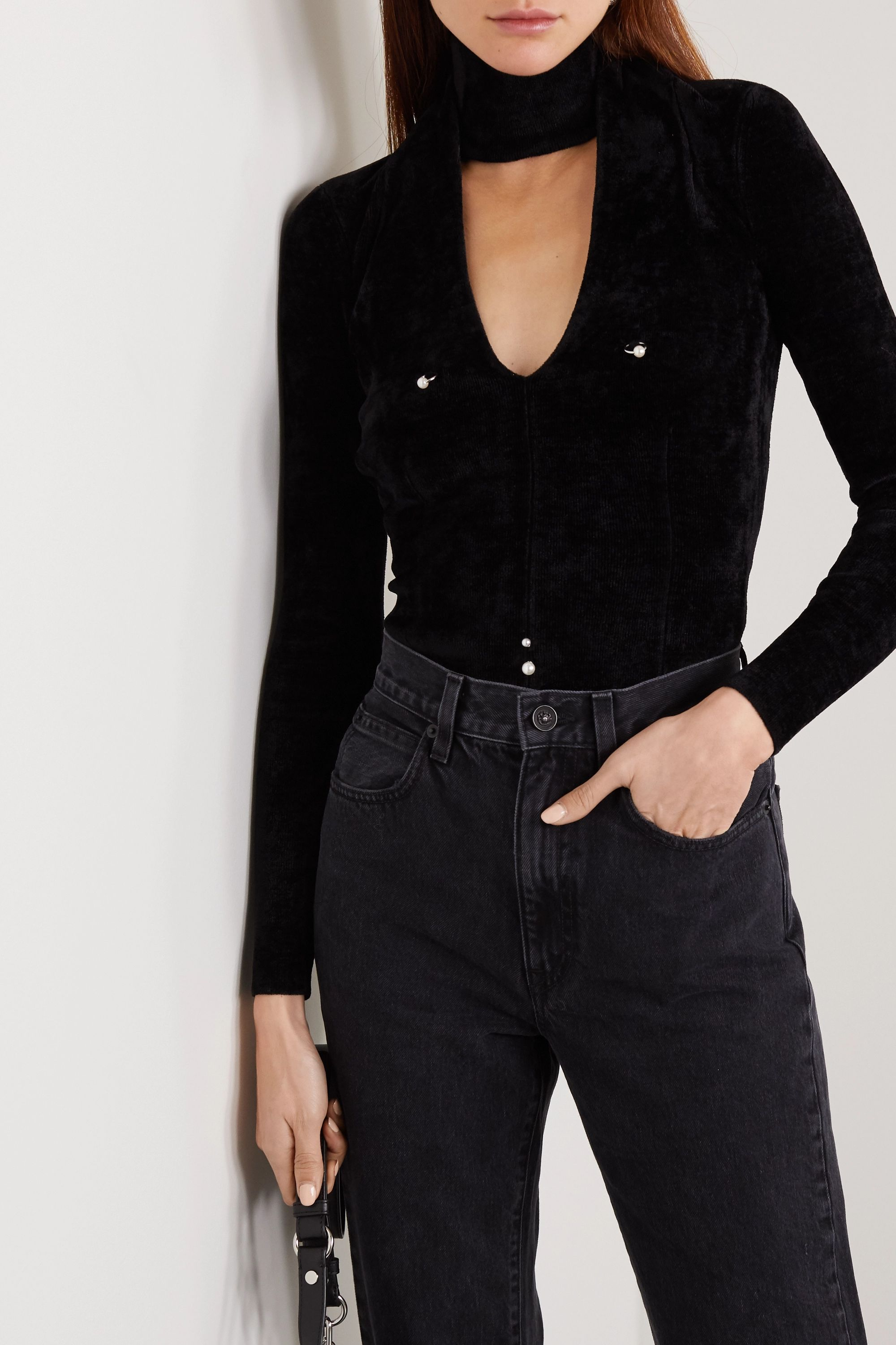 Alexander Wang Cutout embellished chenille top
