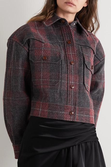 Oversized checked brushed-denim jacket