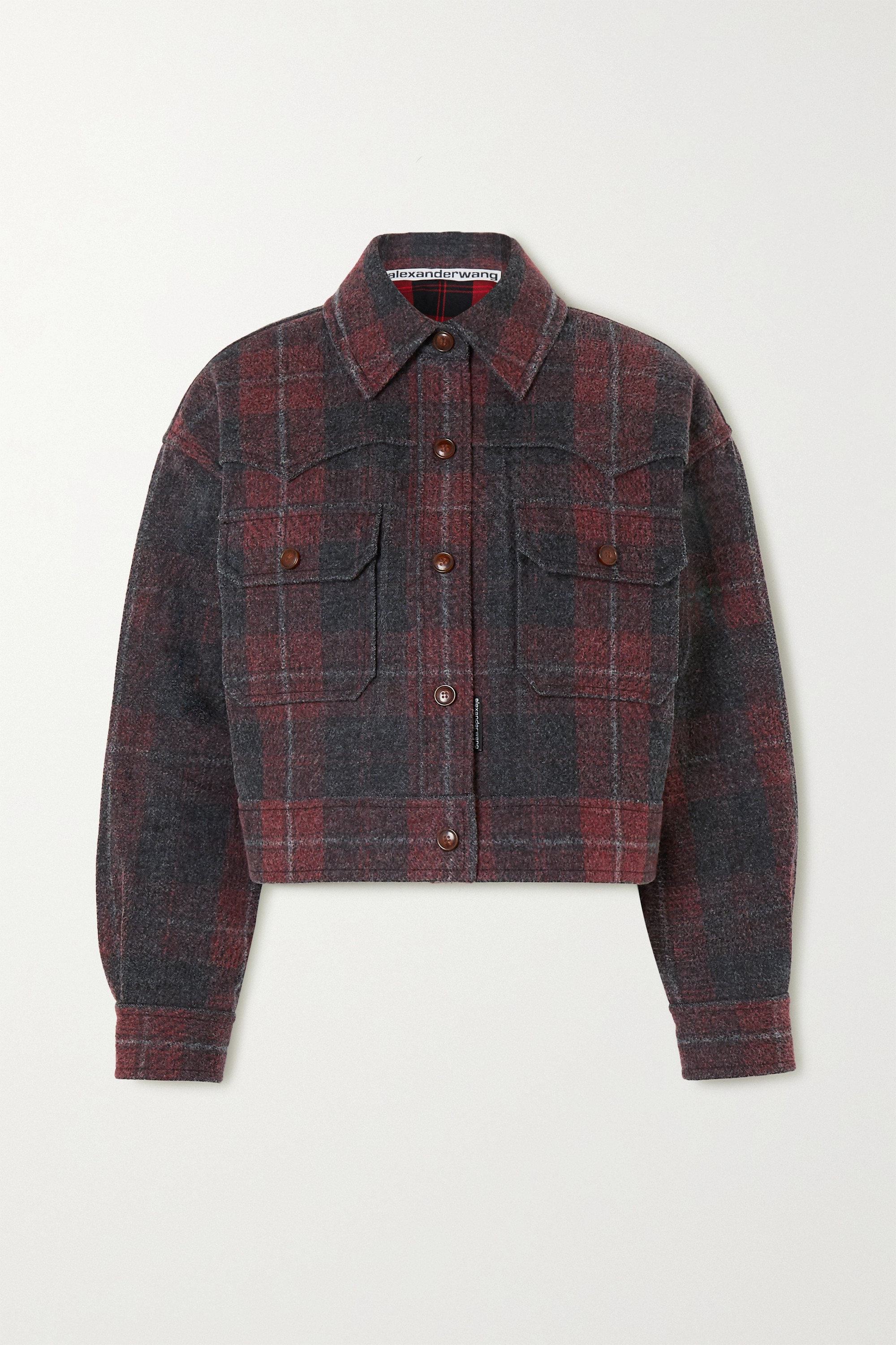 Alexander Wang Oversized checked brushed-denim jacket