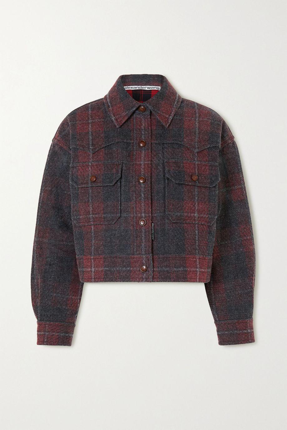 Alexander Wang Oversized checked brushed-denim jacket