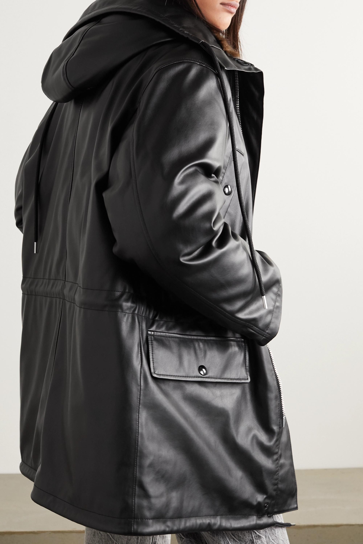 Alexander Wang Jacke aus Kunstleder mit Daunenfüllung, Faux-Fur-Besatz und Kapuze