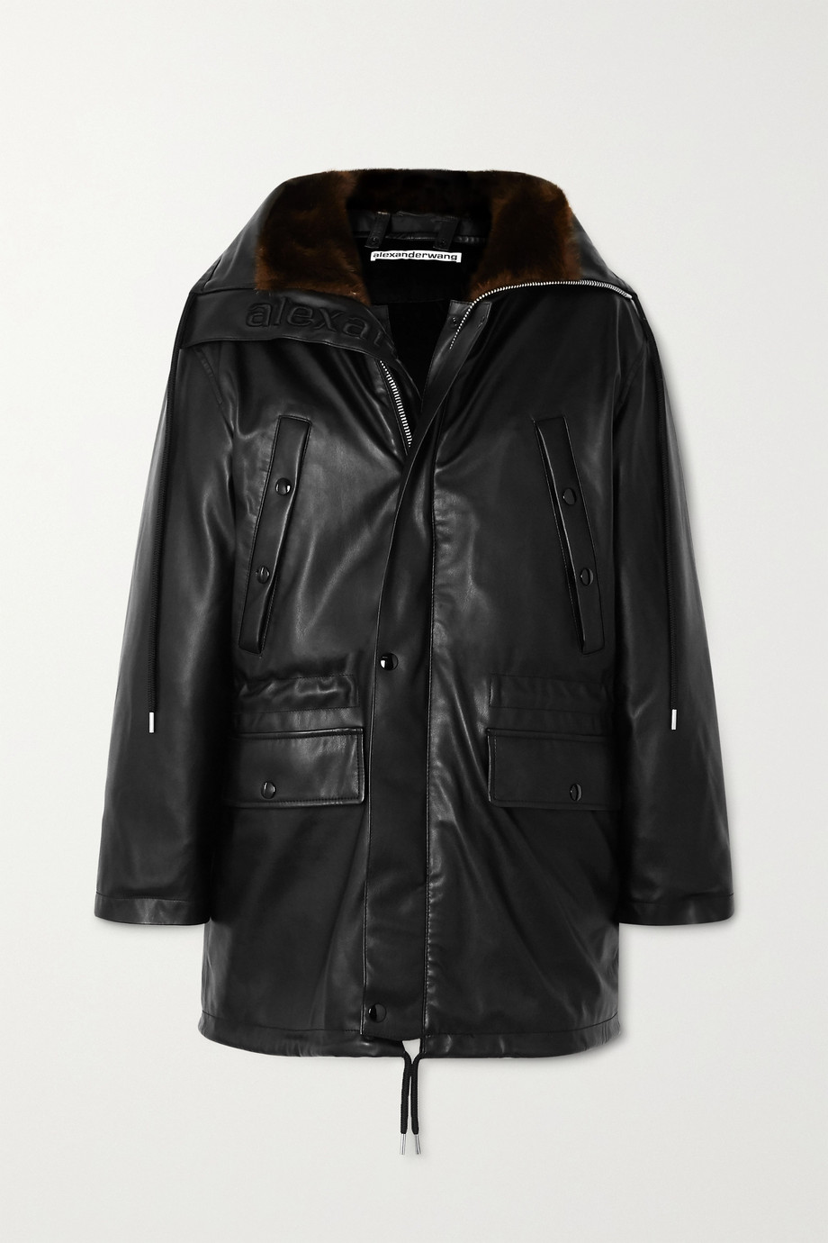 Alexander Wang Hooded faux fur-trimmed faux leather down jacket