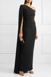 Talbot Runhof Rosedale one-shoulder cape-effect crepe gown