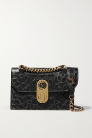 Christian Louboutin Elisa mini leopard-print matte and glossed-leather shoulder bag