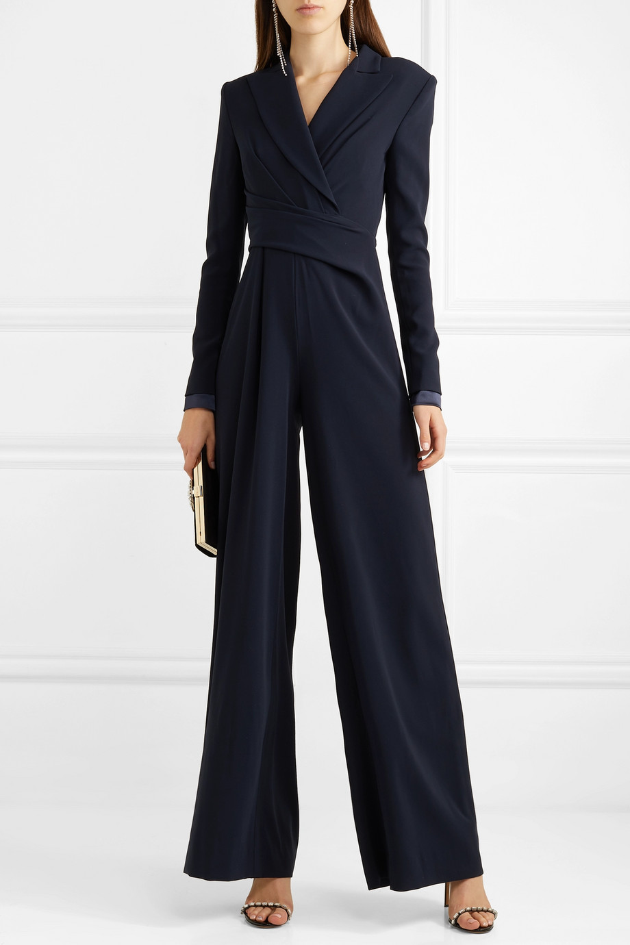 Talbot Runhof Bisini satin-trimmed draped crepe jumpsuit