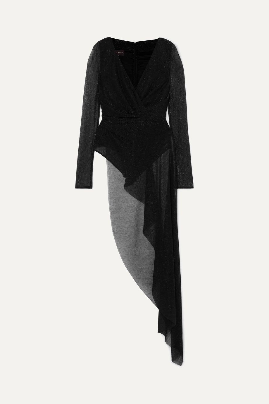 Talbot Runhof Babylone asymmetric draped metallic voile bodysuit