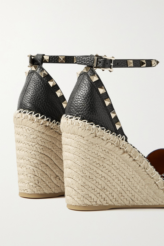 Valentino Valentino Garavani Rockstud 105 textured-leather espadrille wedge sandals