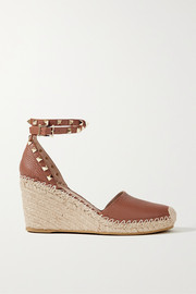 Valentino Valentino Garavani Rockstud 85 textured-leather wedge espadrilles