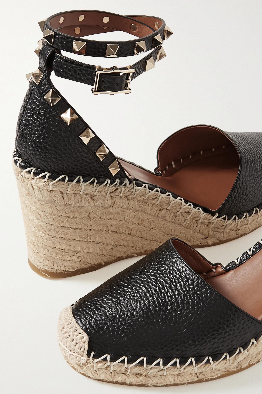 Valentino Valentino Garavani Rockstud 85 textured-leather wedge espadrilles