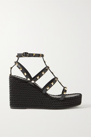 Valentino Valentino Garavani Rockstud 95 leather espadrille wedge sandals