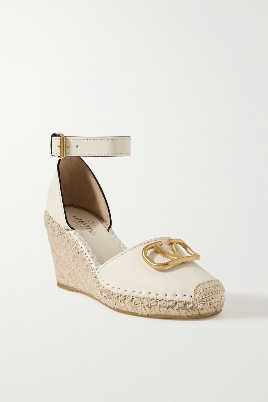 Valentino Valentino Garavani Go Logo 85 embellished textured-leather wedge espadrilles