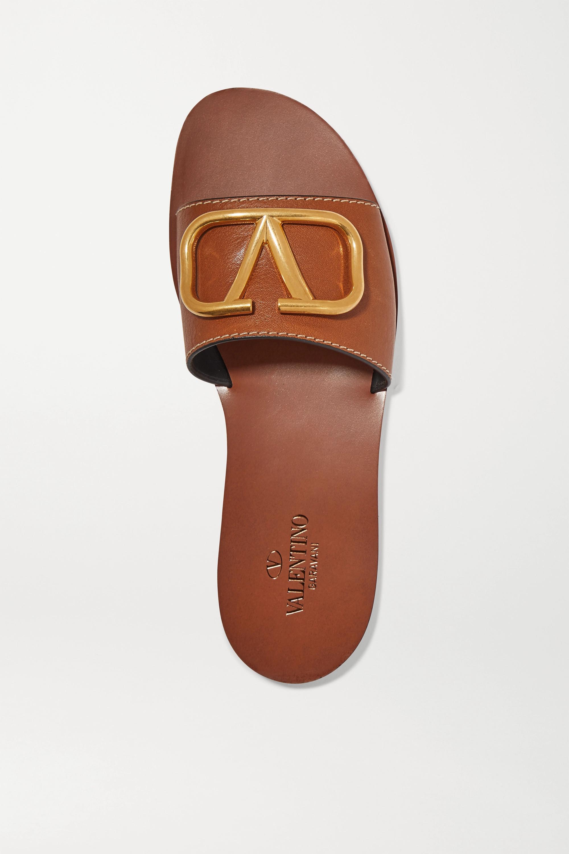 Valentino Valentino Garavani Go Logo embellished leather slides