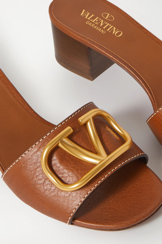 Valentino Valentino Garavani Go Logo 45 embellished leather mules