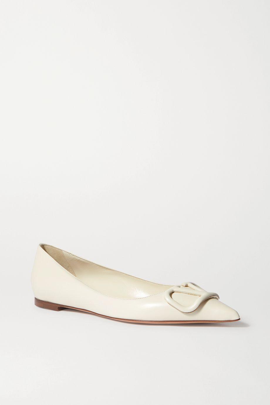 Valentino Go Logo leather point-toe flats