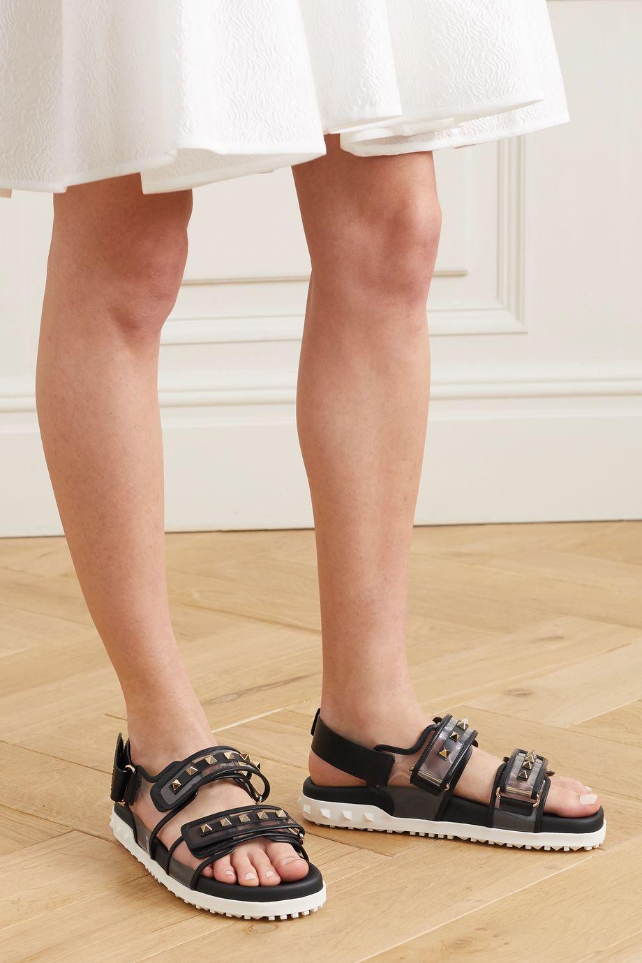 Valentino Valentino Garavani Rockstud leather and PVC sandals