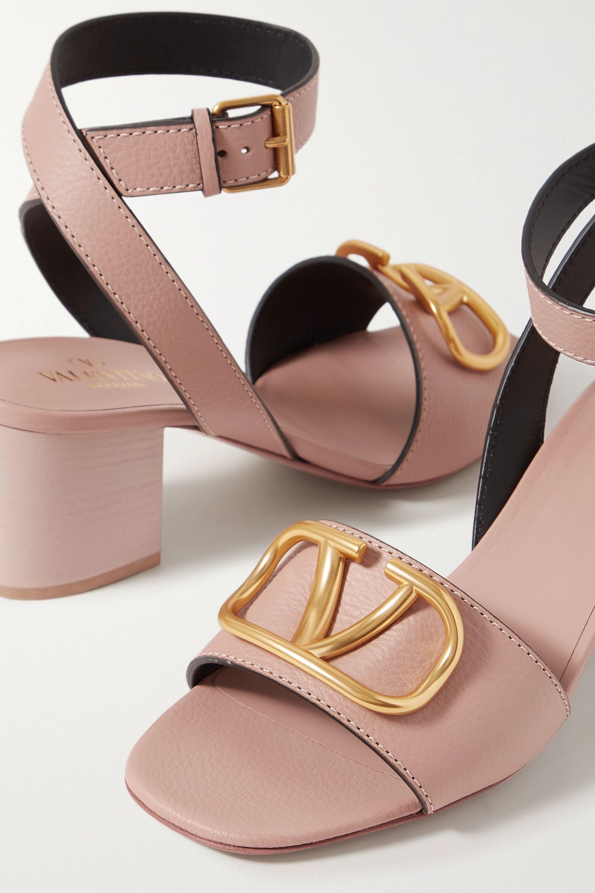 Valentino Valentino Garavani Go Logo 60 embellished textured-leather sandals