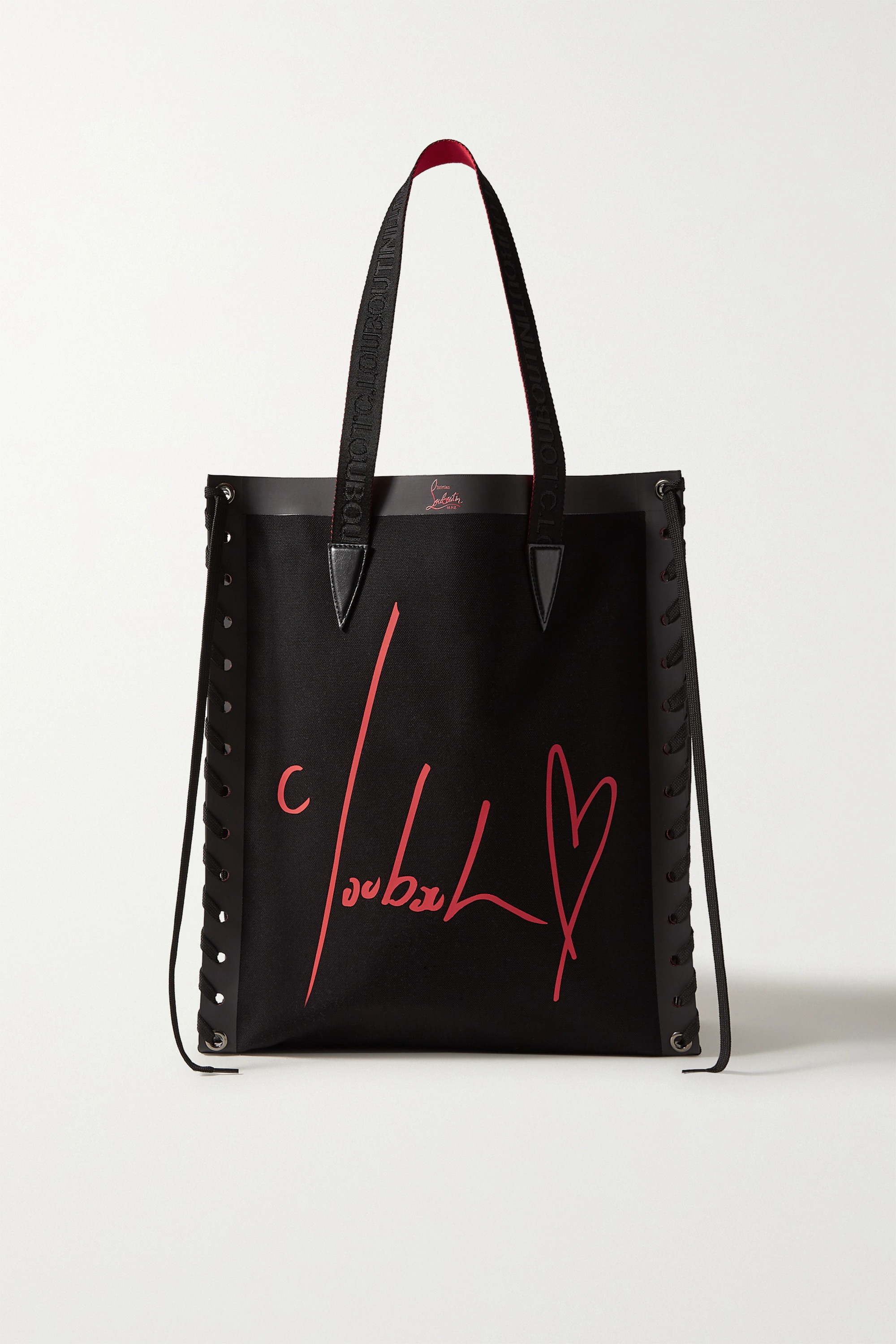 Christian Louboutin Cabalace lace-up leather-trimmed printed canvas tote
