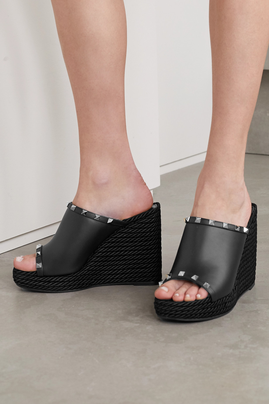 Valentino Valentino Garavani Rockstud 95 leather espadrille wedge sandals