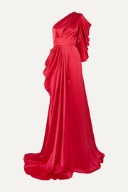 Ong-Oaj Pairam Evelyn one-shoulder draped silk-satin gown