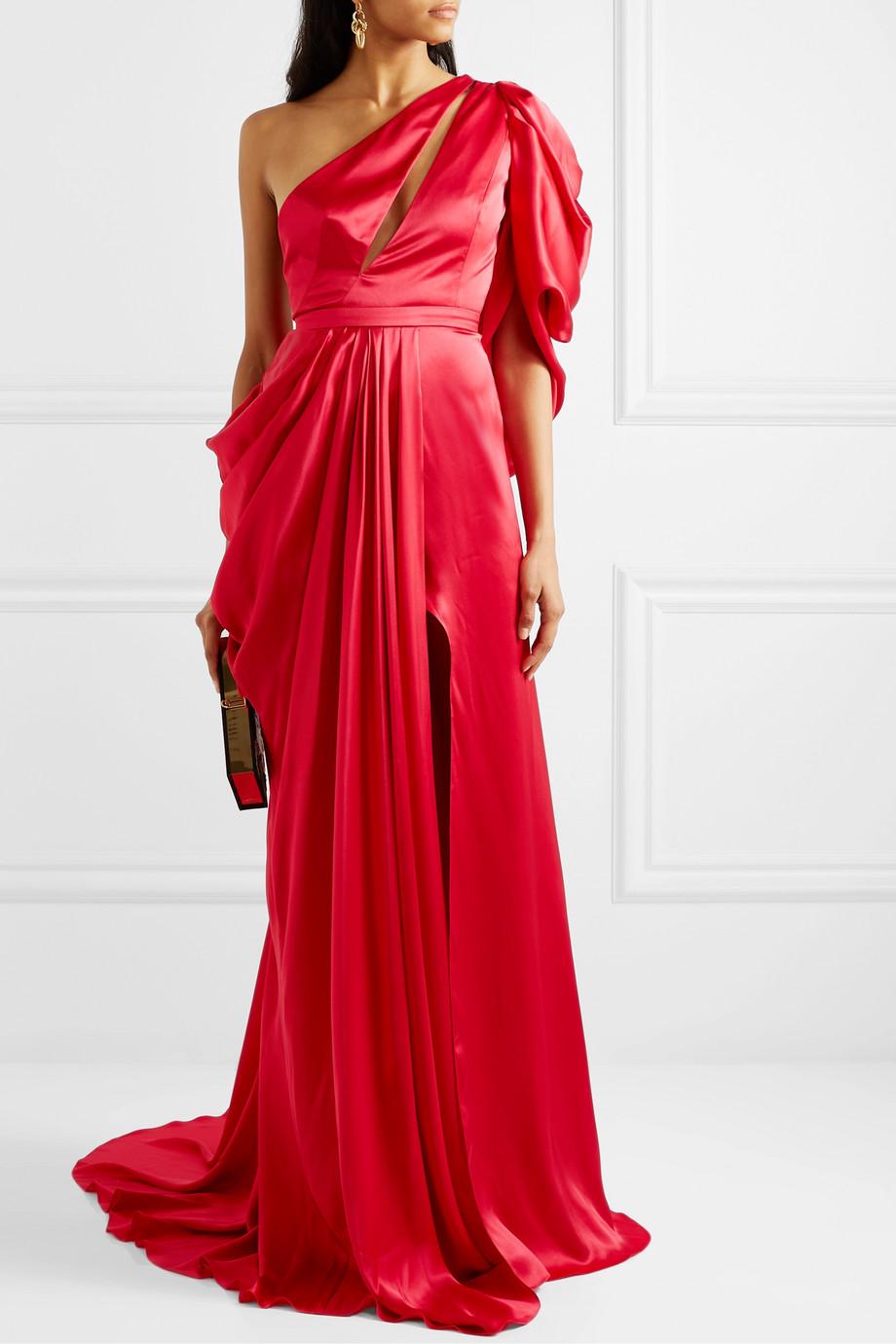Ong-Oaj Pairam Evelyn one-shoulder draped silk-satin gown