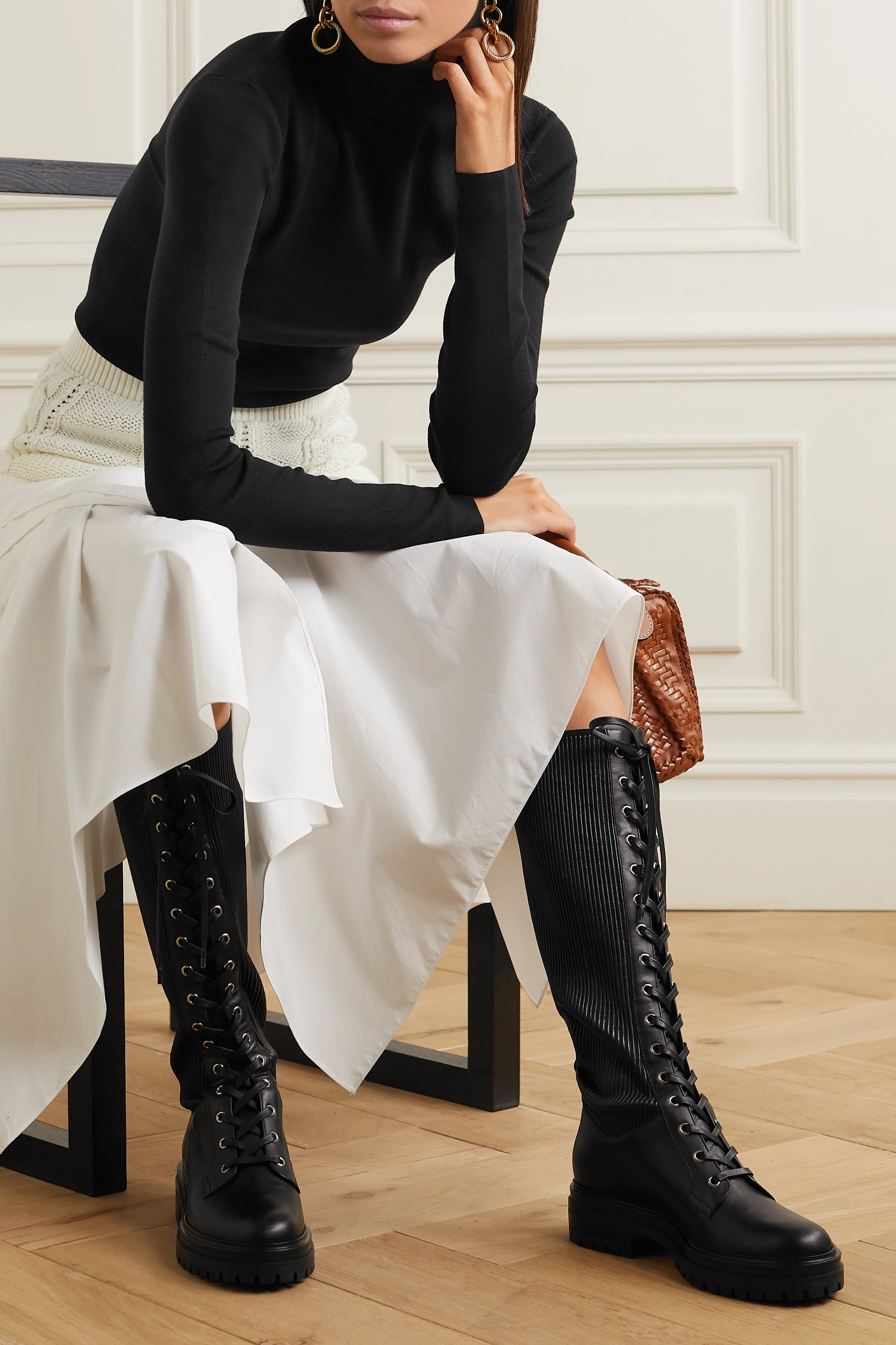 Black Lace-up leather knee boots