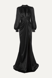 Portia gathered silk-satin gown