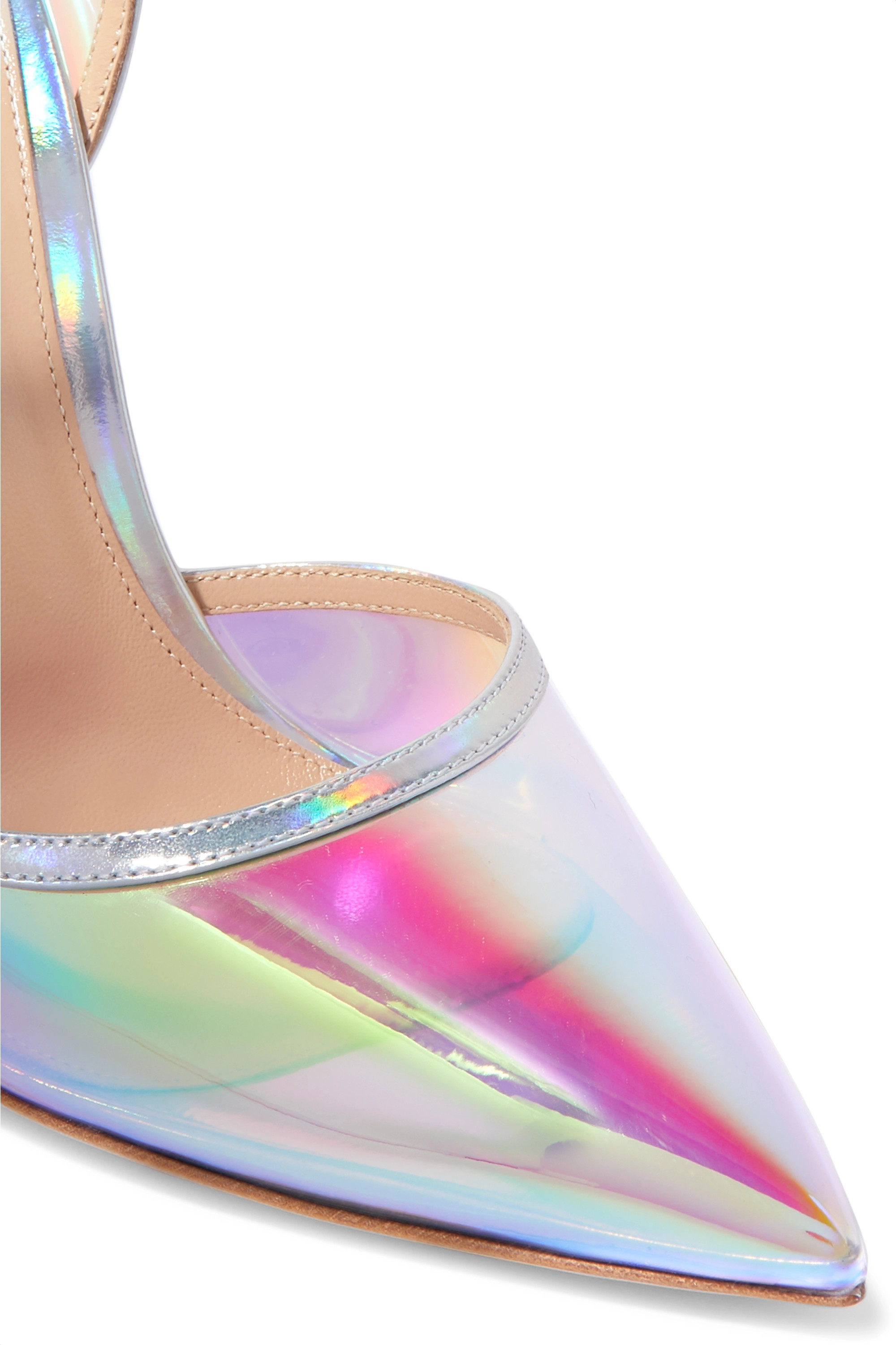 Gianvito Rossi Sabin 105 iridescent Perspex and leather pumps