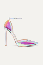 Gianvito Rossi Sabin 85 iridescent Perspex and leather pumps