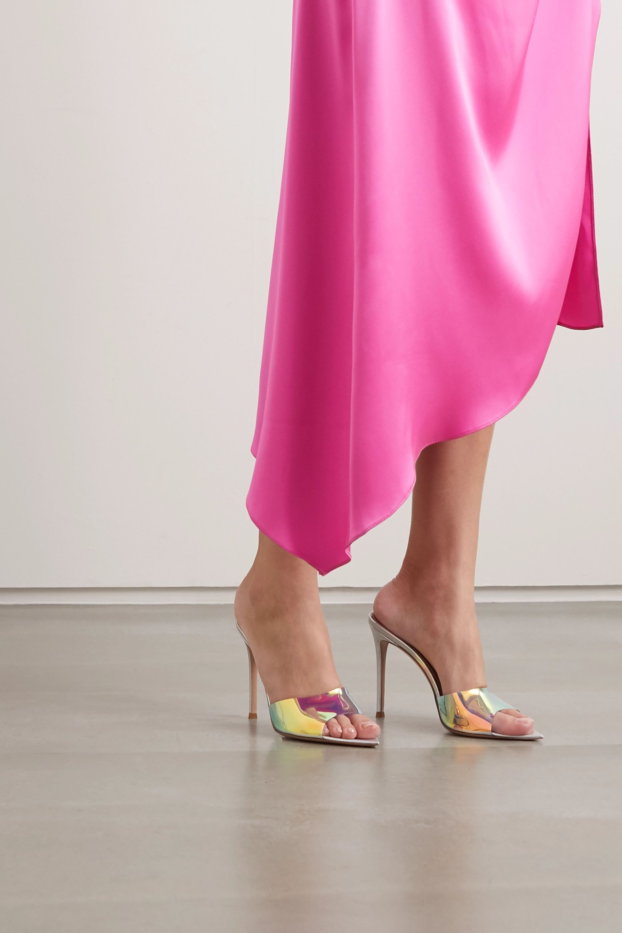 Gianvito Rossi 105 iridescent PVC and leather mules