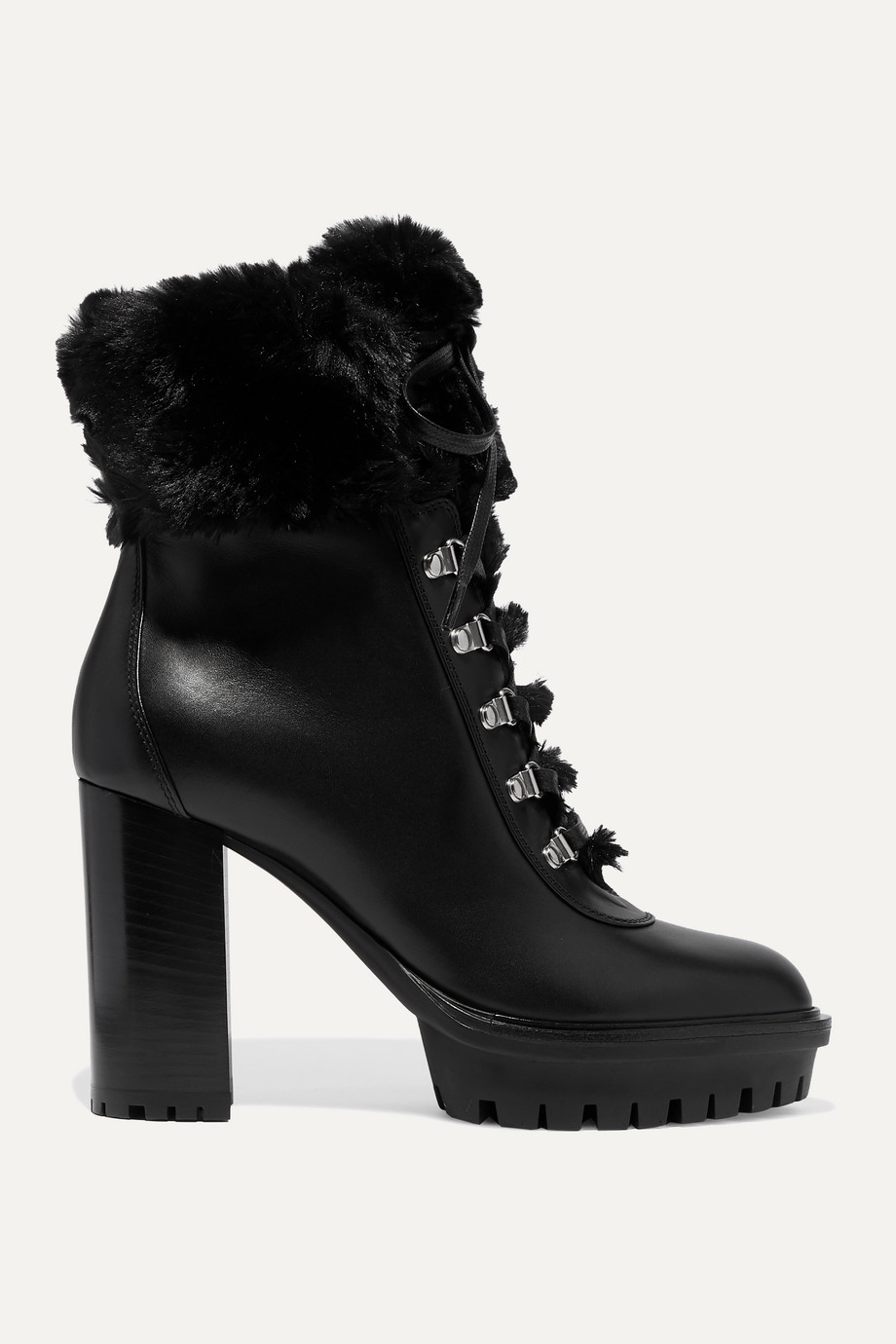 Gianvito Rossi 100 faux fur-trimmed leather platform ankle boots