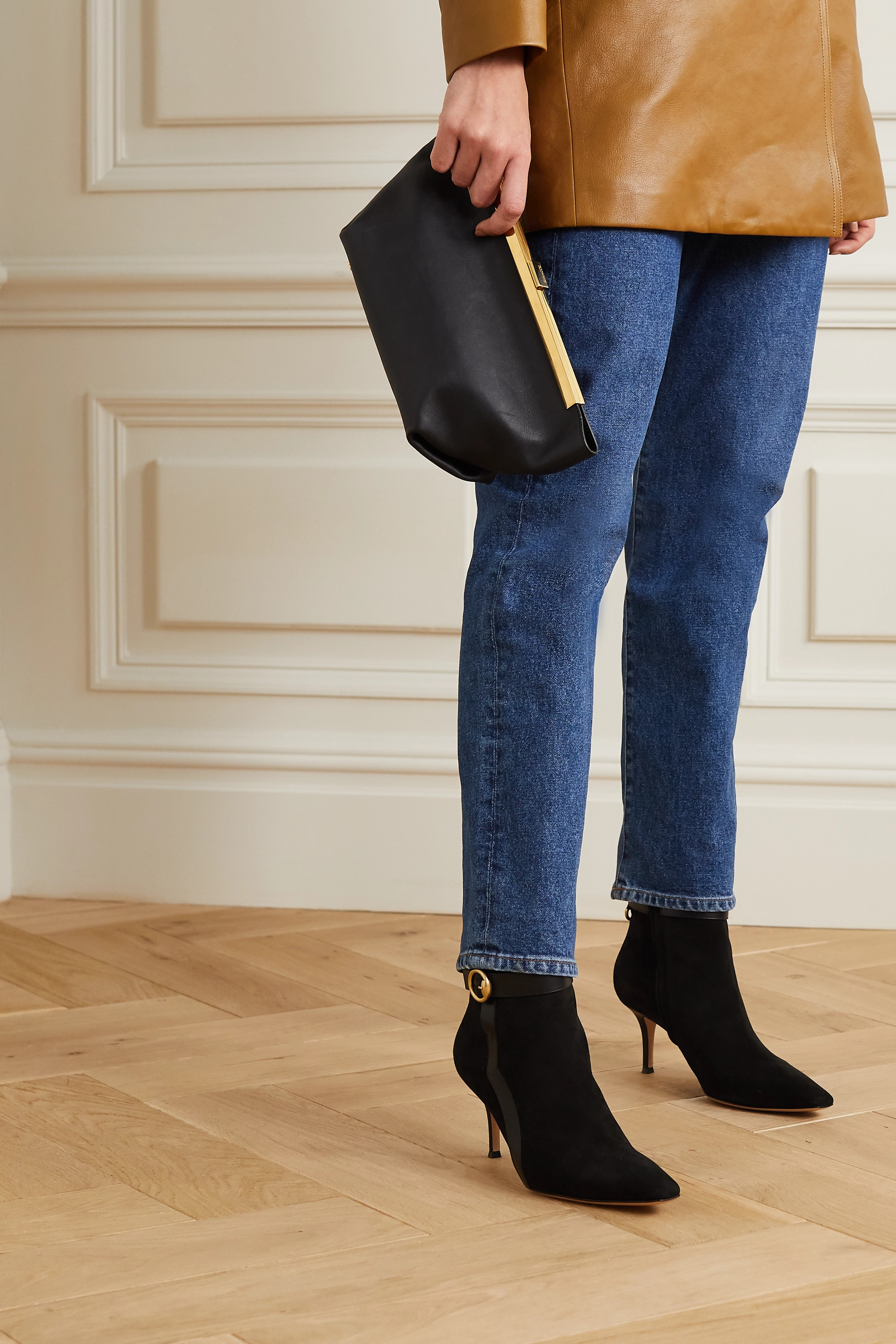 Black 70 leather-trimmed suede ankle