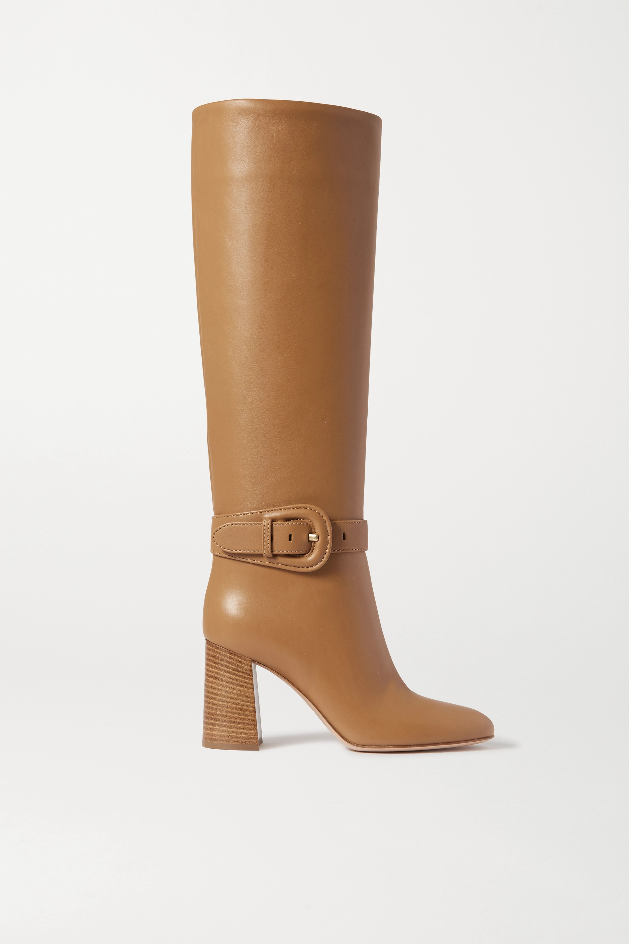 Beige 85 leather knee boots | Gianvito