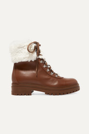 Faux shearling-trimmed leather ankle boots