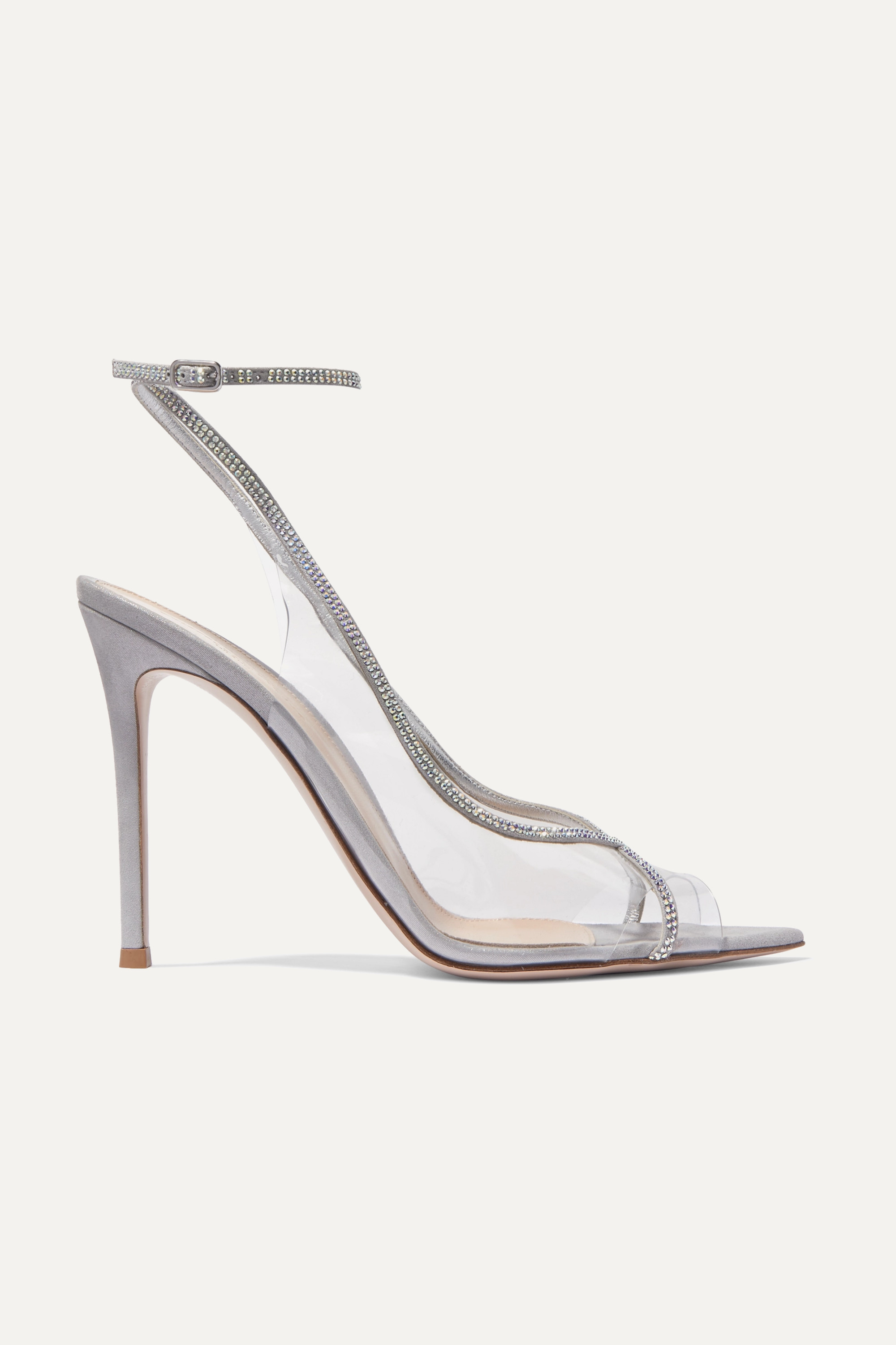 Gianvito Rossi Plexi 105 crystal-embellished lamé and PVC sandals
