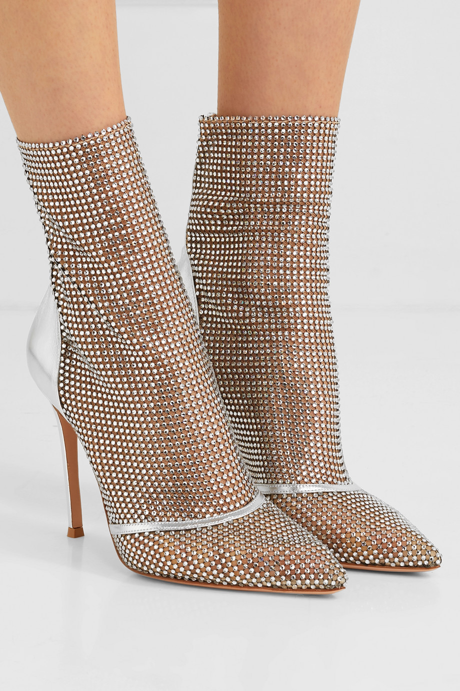 Gianvito Rossi 105 crystal-embellished metallic leather and mesh ankle boots