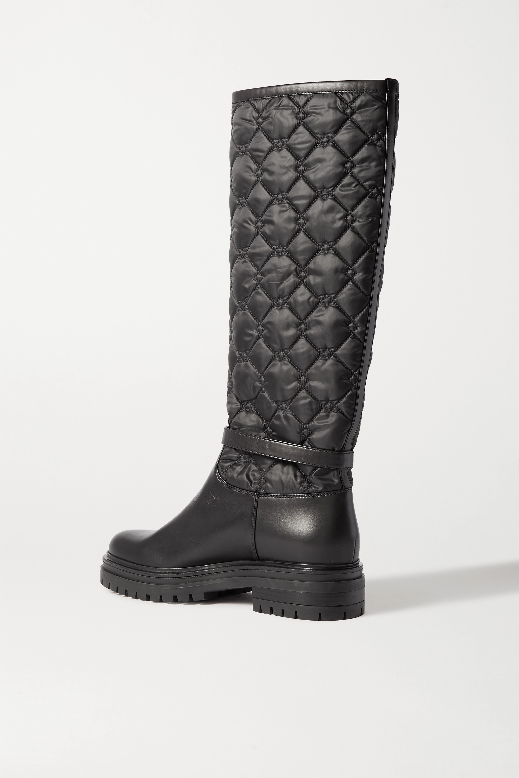 Gianvito Rossi Buckled leather and quilted shell knee boots