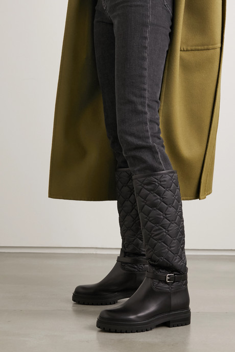 Buckled leather and quilted shell knee boots