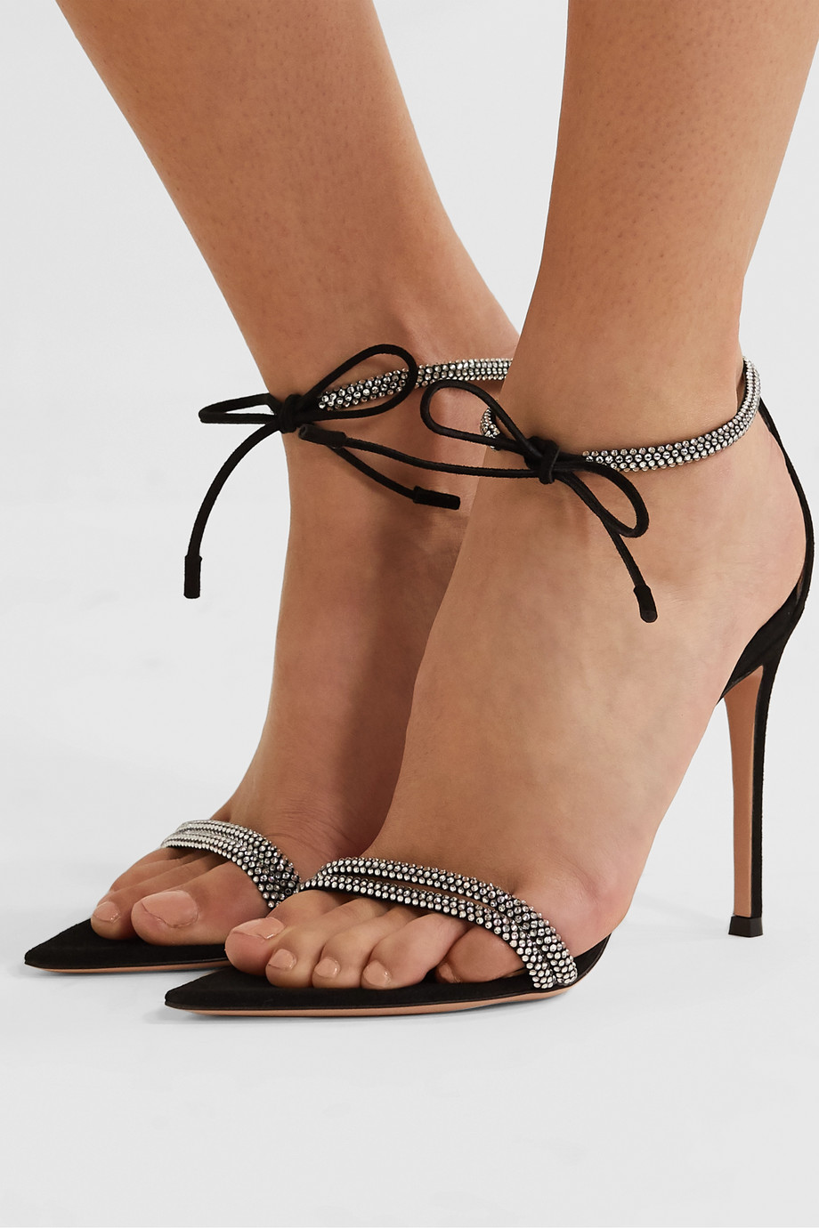Gianvito Rossi Camnero 105 crystal-embellished suede sandals