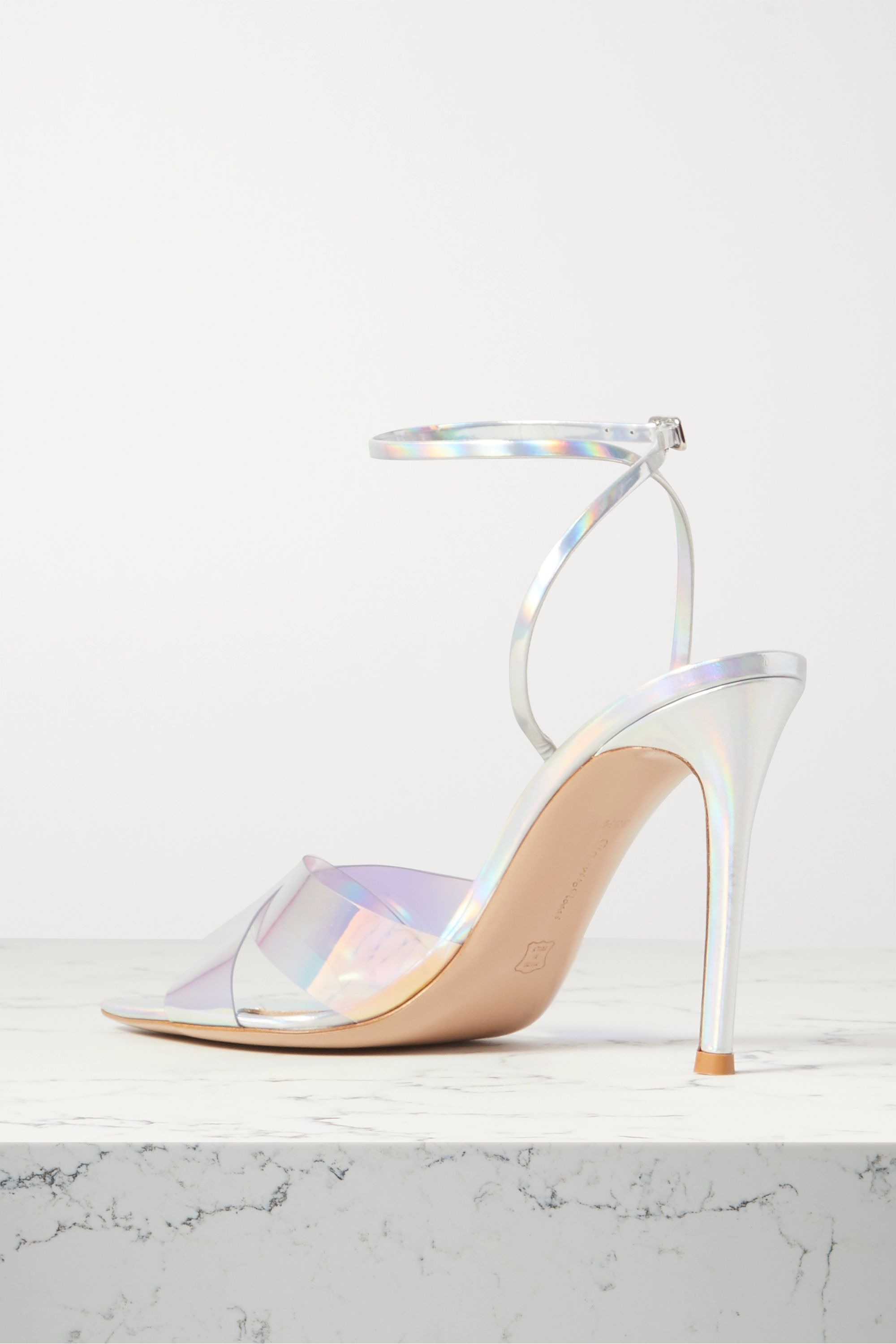 Gianvito Rossi Stark 105 iridescent leather and PVC sandals