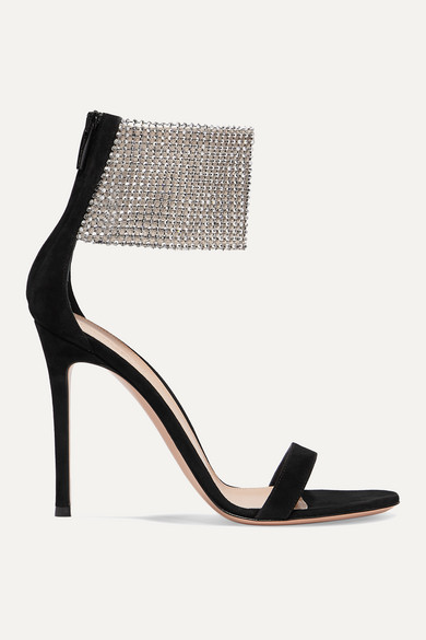 105 Suede And Crystal Embellished Tulle Sandals by Gianvito Rossi