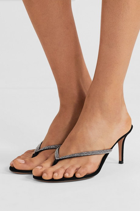 Calypso 70 crystal-embellished suede sandals
