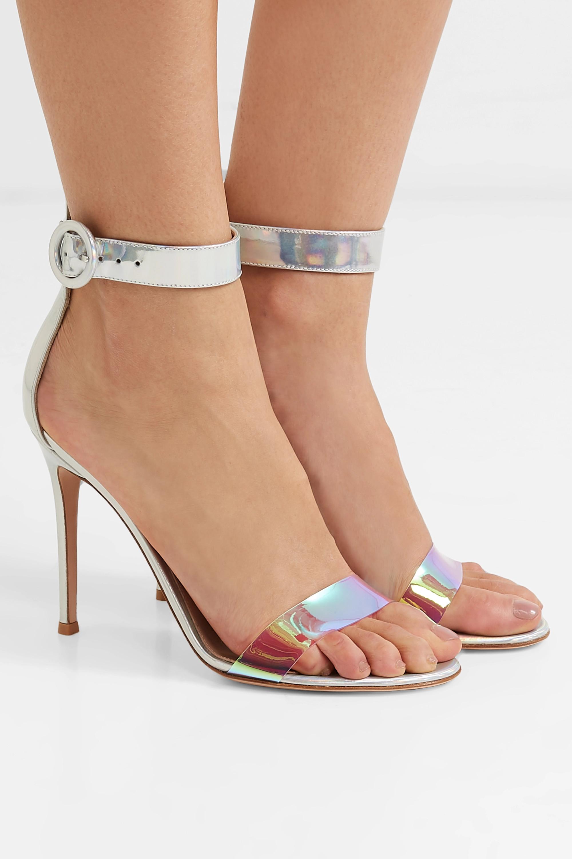 Gianvito Rossi Portofino 105 iridecent leather and PVC sandals