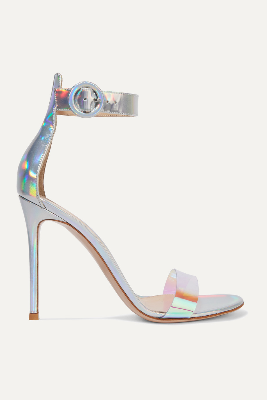 Gianvito Rossi Portofino 105 iridecent leather and PVC sandals