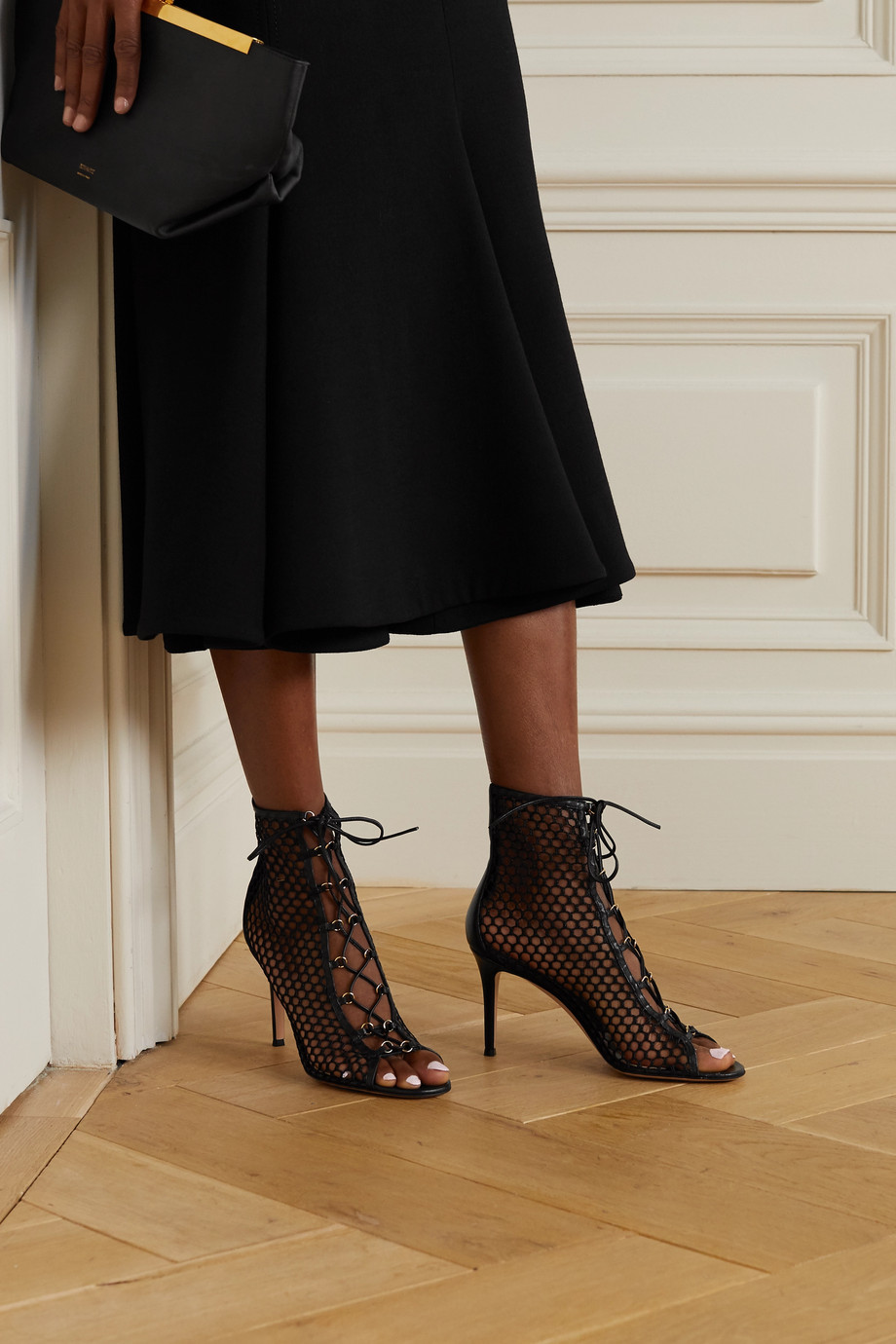 Gianvito Rossi 85 lace-up mesh and leather ankle boots