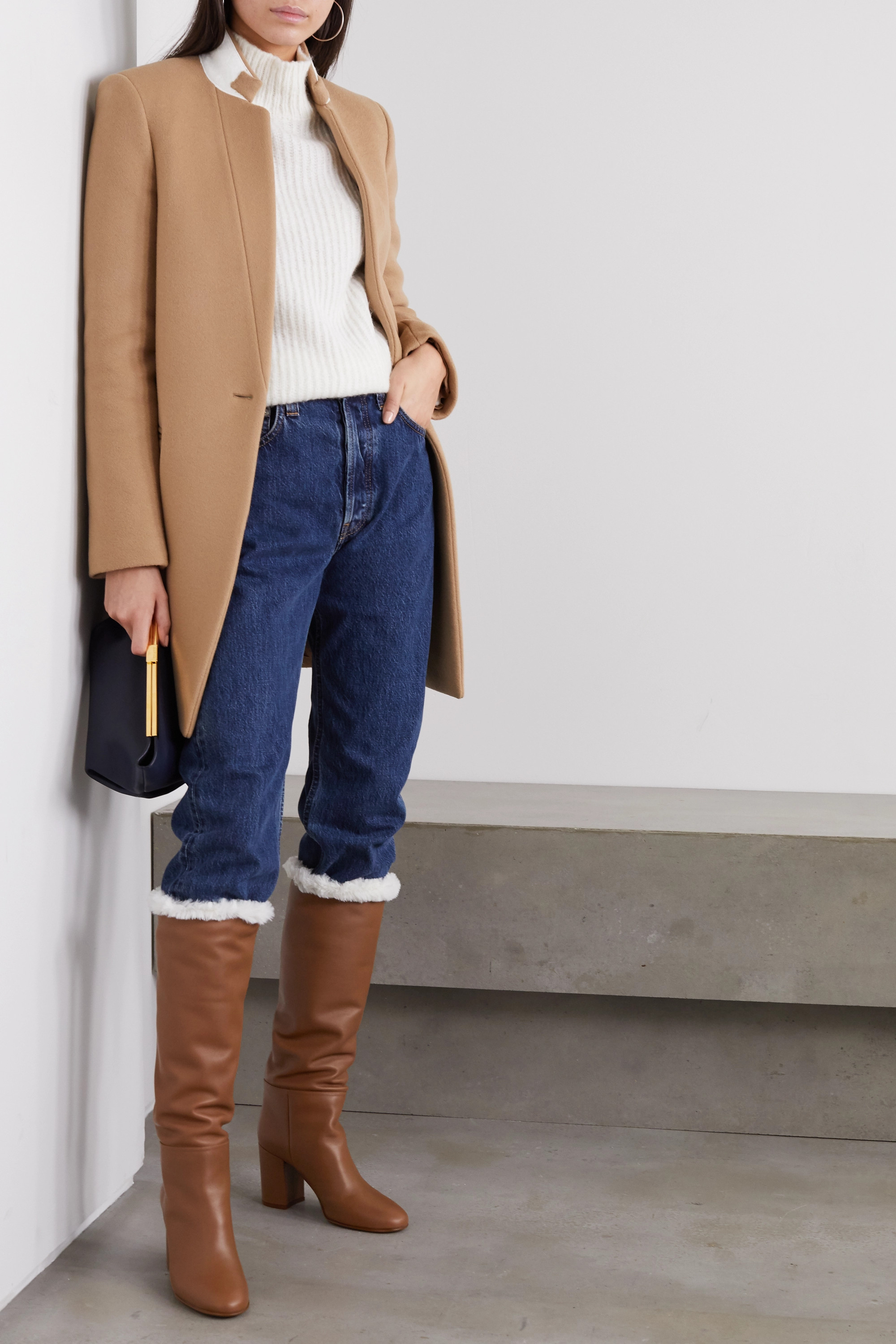 Gianvito Rossi 85 faux shearling-lined leather knee boots